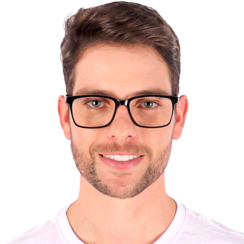 Óculos de Grau Ricardo Quadrado Preto com Cinza