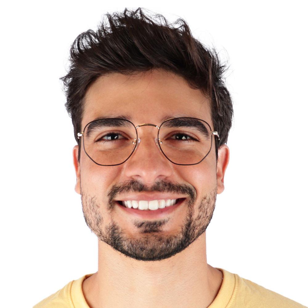 Óculos de Grau Sarti Preto com Dourado