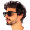 Óculos de Sol Afonso Hexagonal Preto Fosco