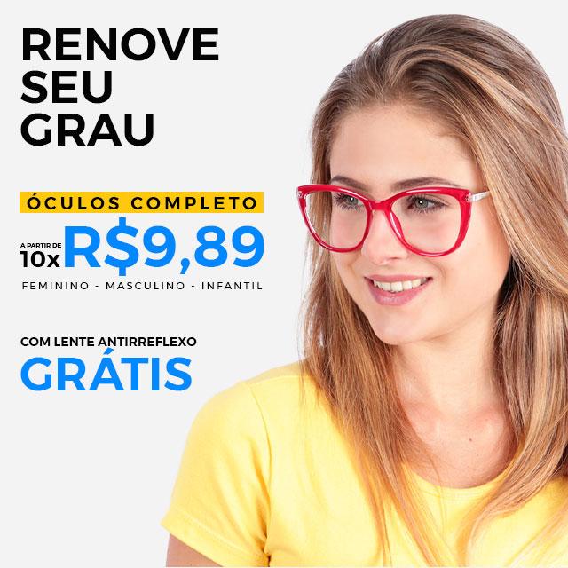 Óculos completo por 10x R$9,89